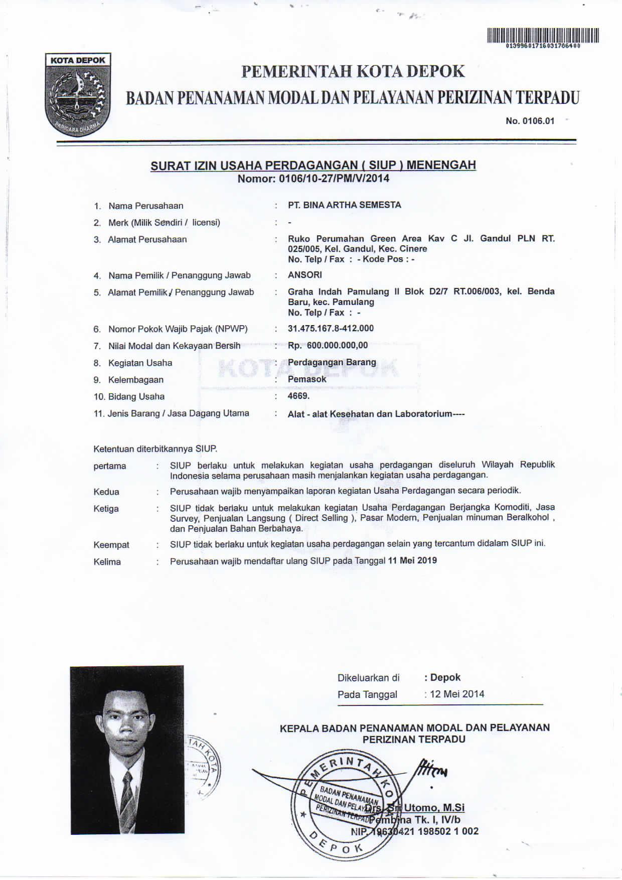 Surat Ijin Usaha Pt Bina Artha Semesta