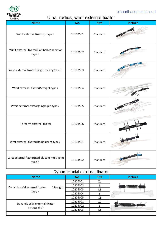 Daftar produk Fukang  Eksternal Fiksator 001