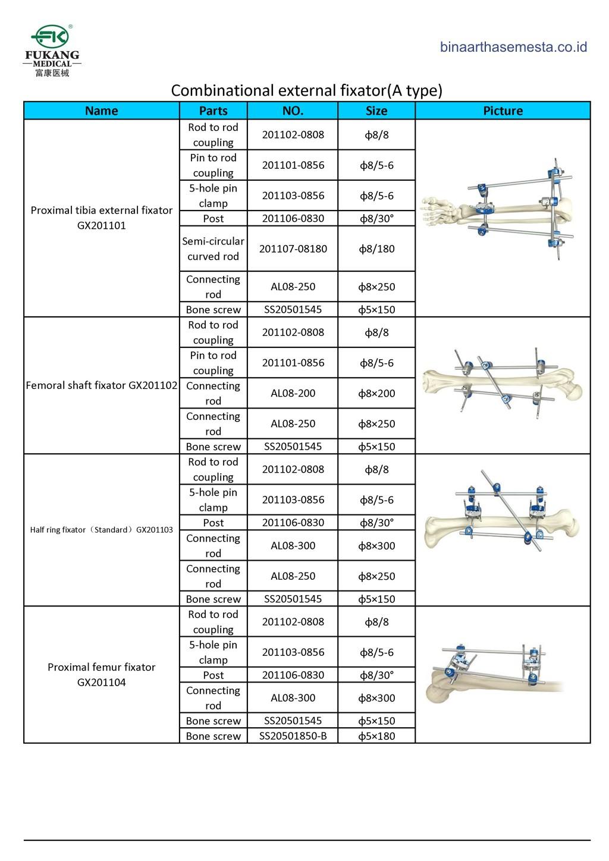 Daftar produk Fukang Eksternal Fiksator 007