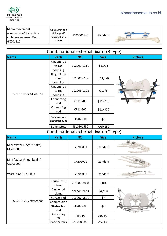 Daftar produk Fukang Eksternal Fiksator 009