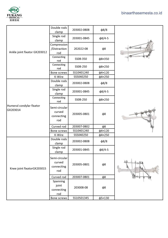 Daftar produk Fukang Eksternal Fiksator 011