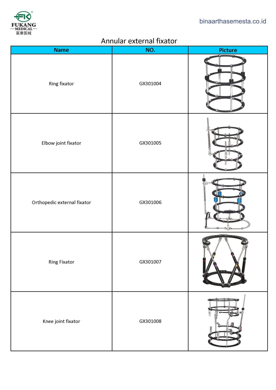 Daftar produk Fukang Eksternal Fiksator 012